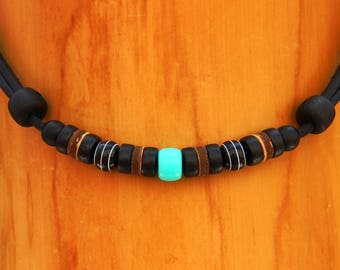 Surfer necklace Surf jewelry Leather necklace Surf style Mens Womens handmade by HANA LIMA ®