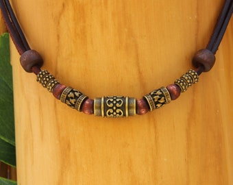 Leather man woman beach surf style biker metal adjustable necklace jewelry jewellery handmade by HANA LIMA®