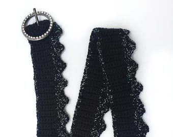 Crocheted Lacy Black and White Belt