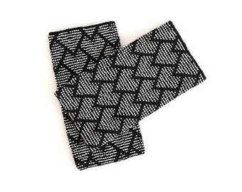 Wrist Warmers / Arm Warmers / Hand Warmers decorated with black, white and gray beads