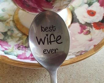 Romantic gift for her Engraved funny valentines day gift idea Custom spoon Best wife ever Anniversary Love present I love my husband
