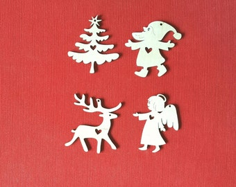 Christmas Tree Decorations Set of 4 Xmas Ornaments Set In Love Wooden Decorations Set Wood Ornaments Laser Cut Embellishment Christmas Decor