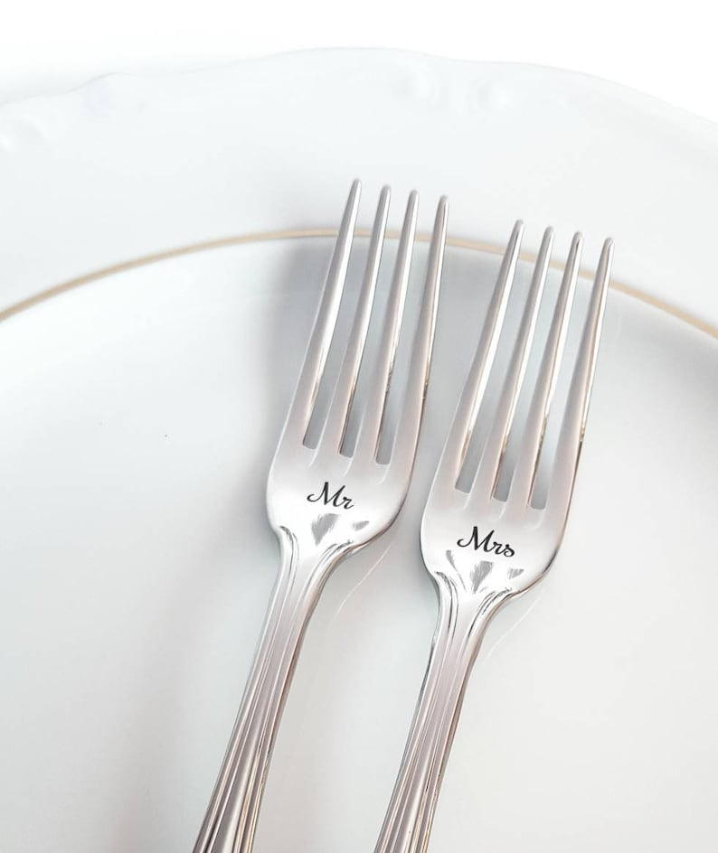 engraved flatware with custom anniversary birthday date silver dining set for gift bride and groom Personalized wedding forks Mr Mrs set