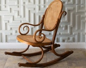 1970s Bentwood and Cane Child 39 s Rocking Chair