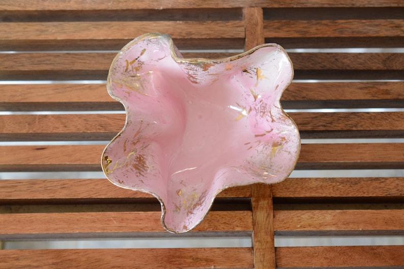 vintage decorative splatter ruffle ceramic Pink Gold Bowl 1950s catchall Lane and Co