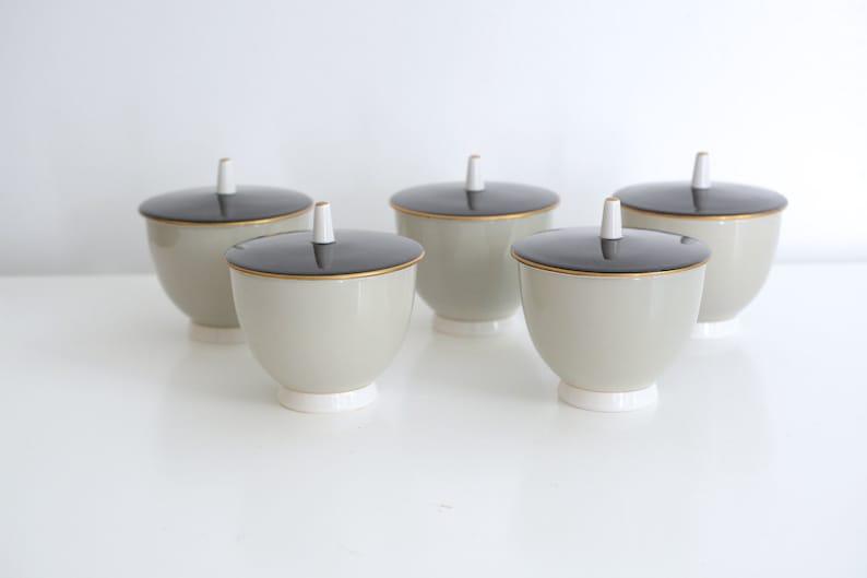 gold grey Midcentury Porcelain Rice Bowls with lids Toyotoki black Asian Japanese