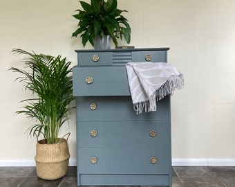Mid Century 1950's Art Deco Style A Range Chest of Drawers by Stag in Farrow and Ball Down Pipe / Bedroom Storage