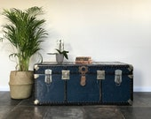 Large Antique Blue Aluminium Steamer Trunk Side Table Travel Trunk Travel Shop Display