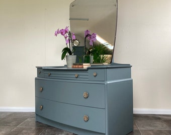 Mid Century 1950's Art Deco Style A Range Dressing Table by Stag in Farrow and Ball Down Pipe / Bedroom Storage