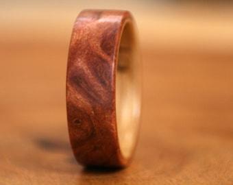 Redwood Burl with Oak Bentwood Ring - Handmade
