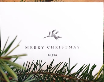 Letterpress Mistletoe Christmas Cards, set of 4