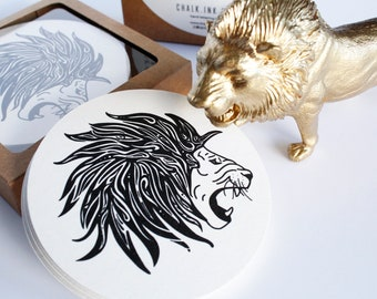 Set of 12 Hand Drawn Roaring Magical Lion Coasters, Inspired by Mystical Aslan