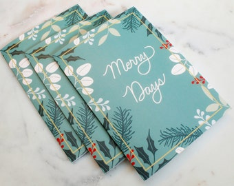 Merry Days Christmas Card Hand-Lettered Floral Set of 8