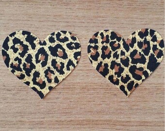 leopard print leather heart nipple pasties with pink stitching