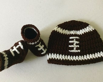 7efebc3f62fad8 Crochet baby FOOTBALL hat and shoes newborn 0-3 3-6 6-12 months infant  toddler beanie set Photography Photo Prop