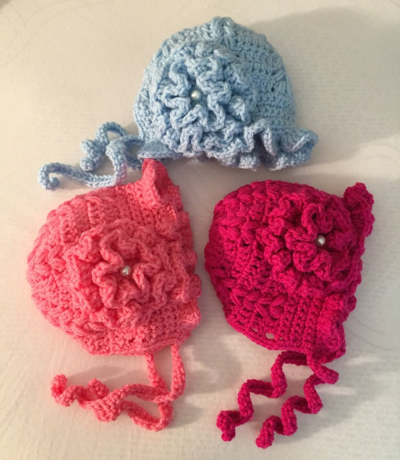 CROCHET Baby Bonnet Hat knit hat chunky baby clothes baby hat  ec8a7c8803ab