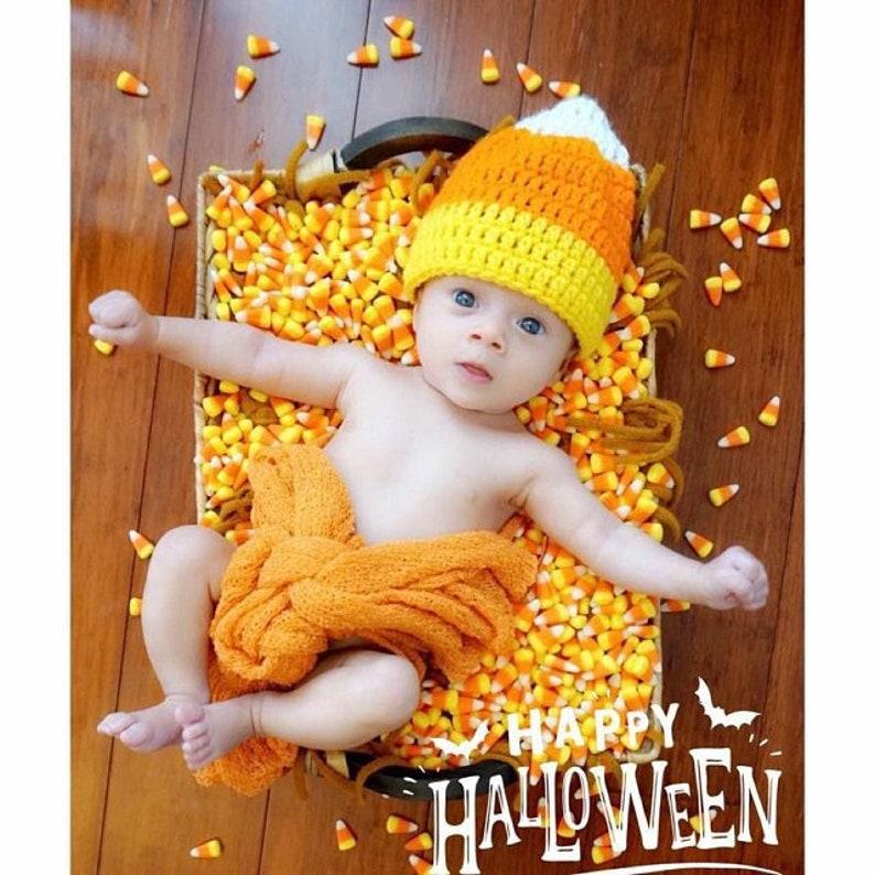 Baby Newborn Toddler Candy Corn Crochet Hat Halloween Fall  Photo Prop Costume 0-3 3-6 6-12 Months
