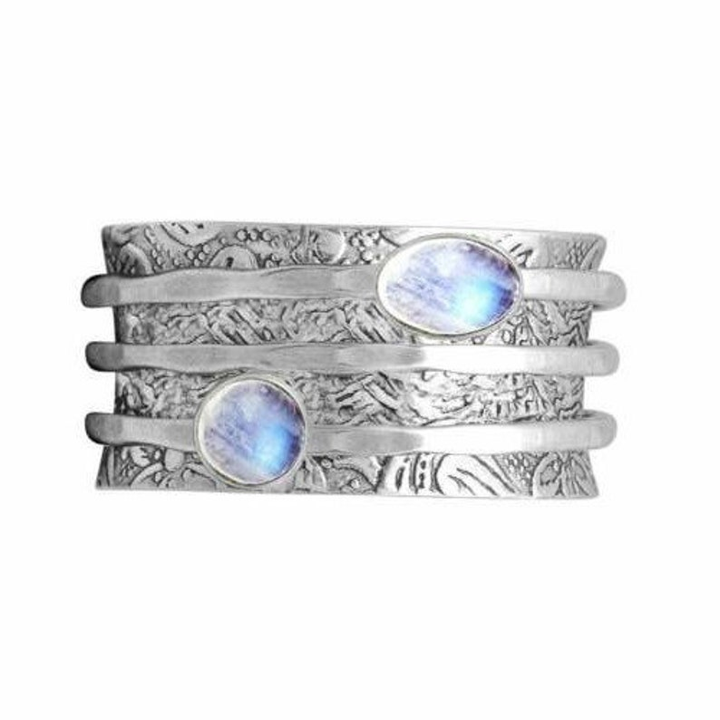 Simple Medieval Style ring Christmas Wedding simple rings Women rings Jewelry Gifts Silver Ring Round Cut Moonstone Ring