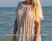Crochet Beach Dress, Crochet Cover Up, Crochet dress, Sexy Dress, Crochet Girl Dress, Eyelet dress, Crochet Swim Cover Up, Boho, Tunic