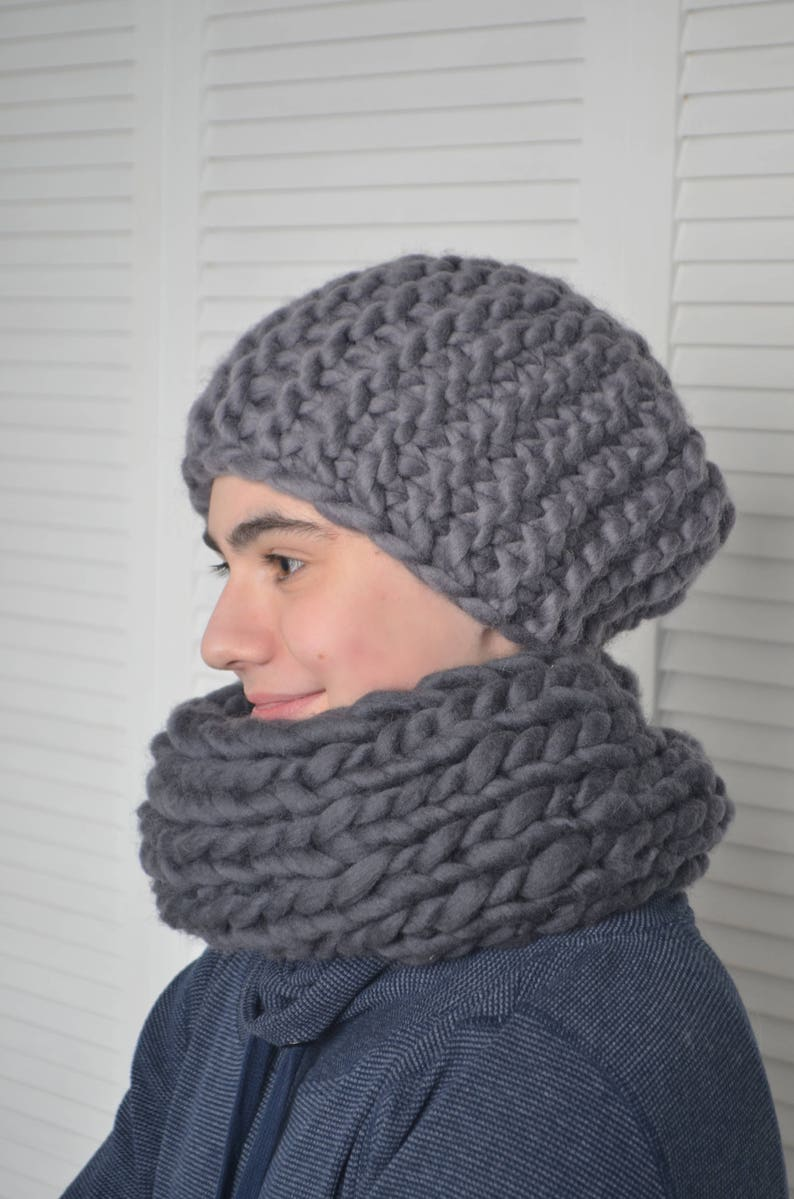 646232dca Mens Merino wool set, Chunky Hat, Winter Hat, Merino wool hat, Merino wool  snood, Gray Hat, Chunky knit hat, Mens hat, Hat, Snood, Men