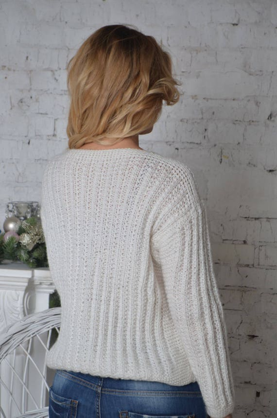 Pull fait main, Chunky pull pull tricot, pull ample, pull Chunky en maille épaisse, automne pull, pull, tricot, pull en maille pêche 103af0
