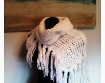 Knitted Asymmetrical Cowl White/Teal/Peach/Gray& Black