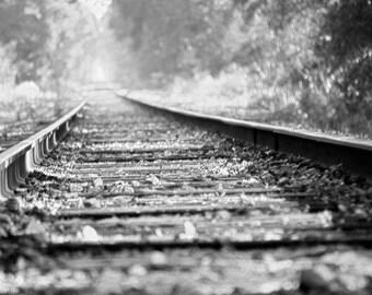 The Journey, black and white, giclee print, fine art decor, abstract, 8x10 11x14, railroad photograph, monochrome wall art, metallic paper