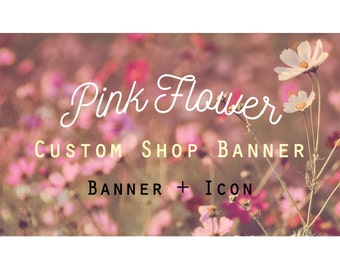 """Etsy Banner Set - Cover & Icon Shop """"Pink Flower"""""""