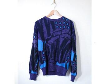 Vintage 80's Starry Starry Night Lorenzo Italian Boyfriend Sweater- Medium