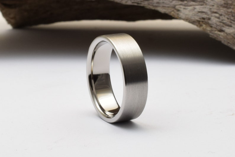 Mens wedding band with straight profile and brushed finish titanium ring mens mens titanium wedding band mens mens titanium wedding rings