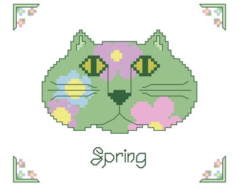 SPRING CAT Counted Cross Stitch Patter - Green Cat Face with Pink, Blue, Lavender Flowers Embroidery Design -  Seasonal Needlework