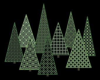 BLACKWORK TREES Counted Cross Stitch Pattern / Chart - Modern Geometric Embroidery Design - Green Trees on Black Fabric
