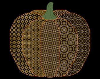 BLACKWORK PUMPKIN Counted Cross Stitch Pattern - Challenging, Backstitch Chart - Autumn / Fall Needlework Design - Halloween Embroidery