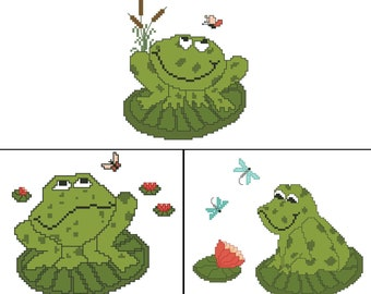 Buy 2 FROG Counted Cross Stitch Patterns / Charts - Get the 3rd One Free - Bathroom Décor - Gift for Frog Lover - Embroidery Designs