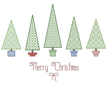 Blackwork TREES in POTS Counted Cross Stitch Pattern / Chart - Backstitch Merry Christmas Embroidery Design - Use individual Trees for Cards