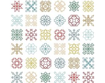 Mini BLACKWORK / Backstitch Squares Counted Cross Stitch Pattern / Chart - TINY TREASURES 2 Modern, Geometric, Motif Embroidery Design