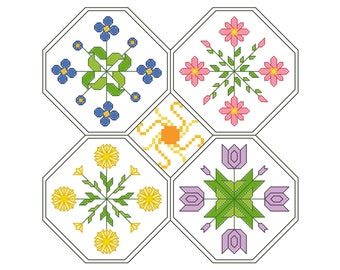 FLORAL EXPLOSION Counted Cross Stitch Pattern - Multicolor, Spring Flower Octagons Embroidery Chart - Flowery, Geometric, Needlework Design