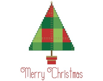 PLAID TREE Counted Cross Stitch Pattern - Christmas Embroidery Chart - Needlework Card  or Ornament Design - Red, Green, Gold Metallic