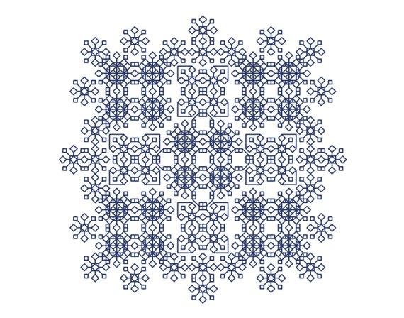 BlackWork Mandala Chart Blackwork chart chart  by Peppermint Blackwork Chart Blackwork Mandala Cross Stitch Pattern