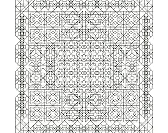 INTENSITY Counted Cross Stitch Pattern / Chart -  BLACKWORK / Backstitch Embroidery Design - Modern, Geometric Needlework