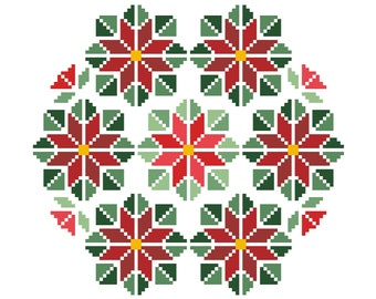 POINSETTIAS Counted Cross Stitch Pattern - Red and Green Christmas Embroidery Chart - Geometric, Needlework Design - Full Stitches Only