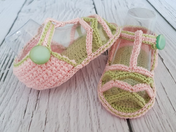 Crochet Baby Sandals Pattern Summer Striped Sandals Instant Etsy