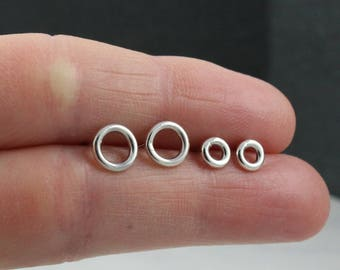 Circle studs | Circle earrings | Silver earring set |  2 pairs of earrings | Open circle studs | Set of 2 pairs | Silver circle studs