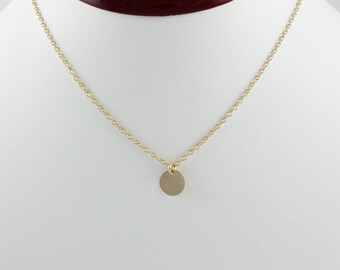 14k gold pendant etsy 14k gold pendant gold disc necklace engraved gold pendant tiny gold circle blank disc necklace plain disc pendant gold necklace aloadofball Image collections