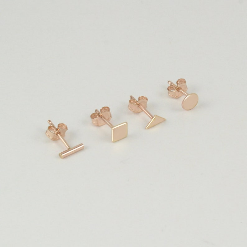 7b370040 Gold stud earrings | 14K Rose gold studs | Set of 4 gold studs | Small gold  earrings | Circle stud | Triangle stud | Bar stud | Square stud
