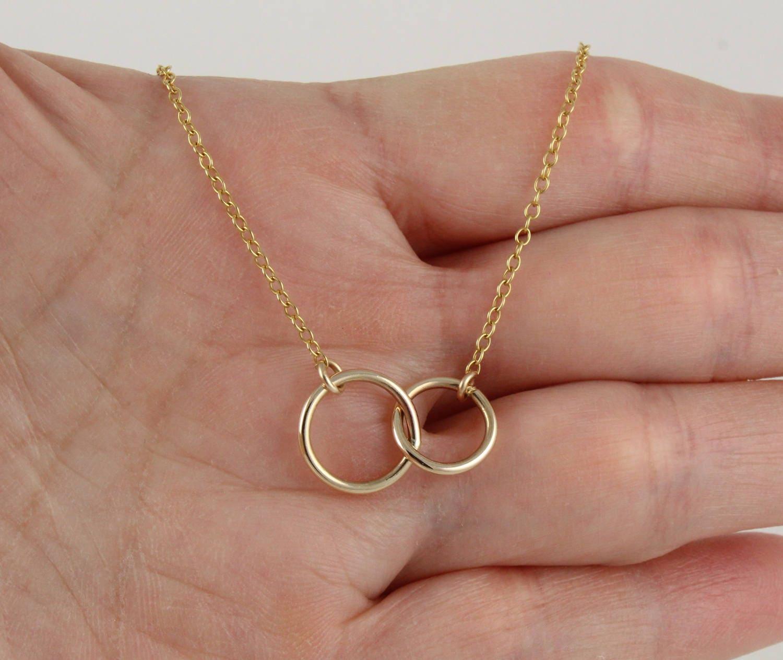 Double Gold Platinum: Gold Necklace Silver Necklace Double Circle Necklace