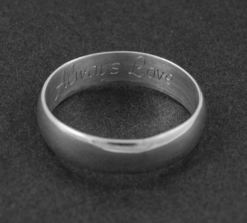 Brushed wedding ring Silver wedding band Engraved ring Personalized band Simple wedding ring Man wedding ring Woman wedding ring