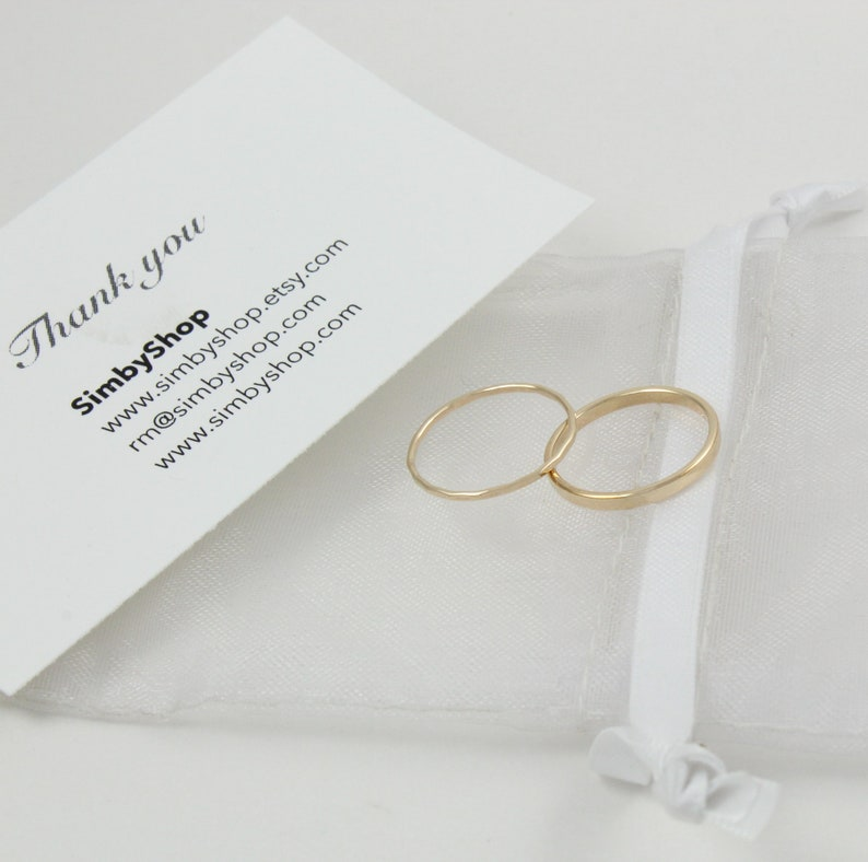 Minimal gold ring Gold ring set 2 gold filled rings Stacking rings Set of 2 gold rings Thin thick gold rings Simple gold ring