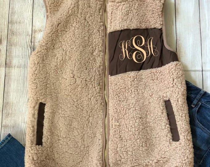 Monogram Fleece Lined Sherpa Vest ,Personalized,Monogrammed, Free Shipping when ordered on DKWITTLEONES.BOUTIQUE