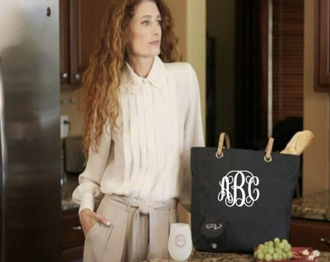Black Monogrammed City Tote w/Hidden Spout, Insulated Compartment, Holds mixed drinks, beer, water, tea or juice for kids,Great Gift